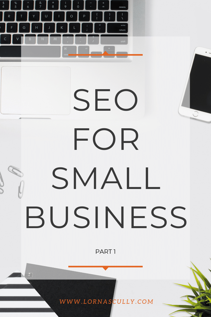 Seo for Small Business Pinterest graphic with text over the top of desk flatly