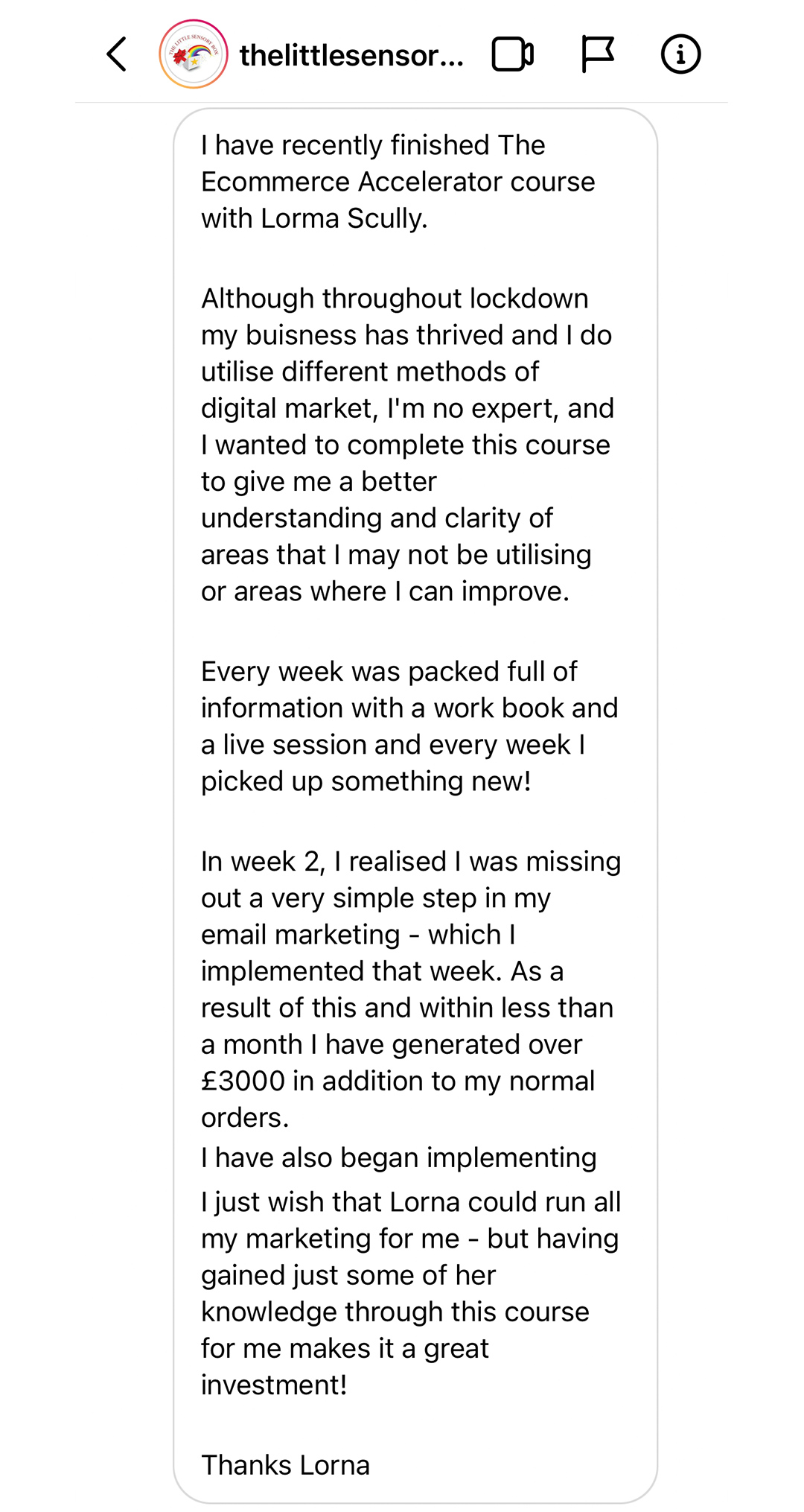 The Ecommerce Accelerator Programme by Lorna Scully Review Posting within an Instagram Dm From The Little Sensory Box