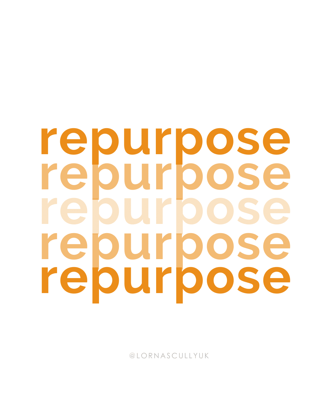 Repurposing Content For Small Businesses | Content Marketing | Marketing Ideas | The word Repurpose in various orange shades repeated 5 times